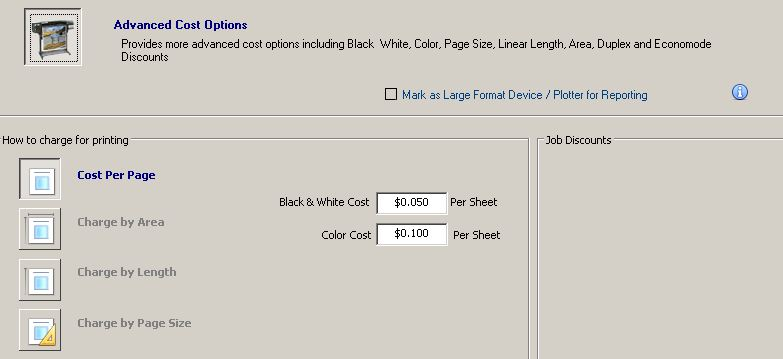 For This Example We Will Setup A Cost Profile The Selected Print Queue