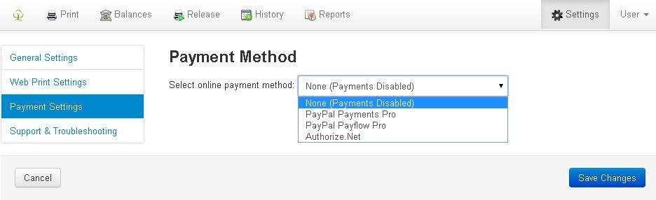 How to configure online payment gateway options  – Print Manager