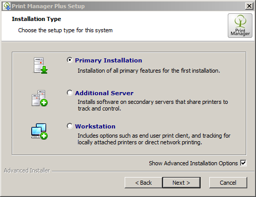 Installation in a Domain using a Print Server  – Print Manager