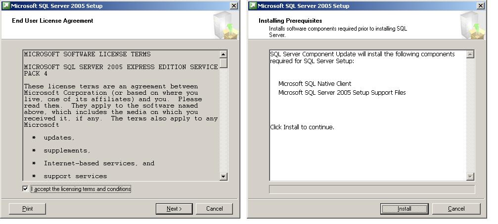 Manually Installing SQL 2005 Express on Windows Server 2003