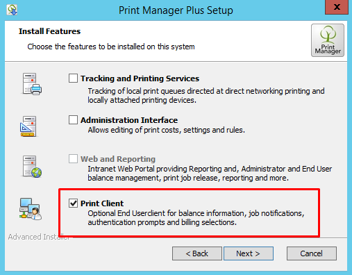 Installation of the Windows Print Client Notification